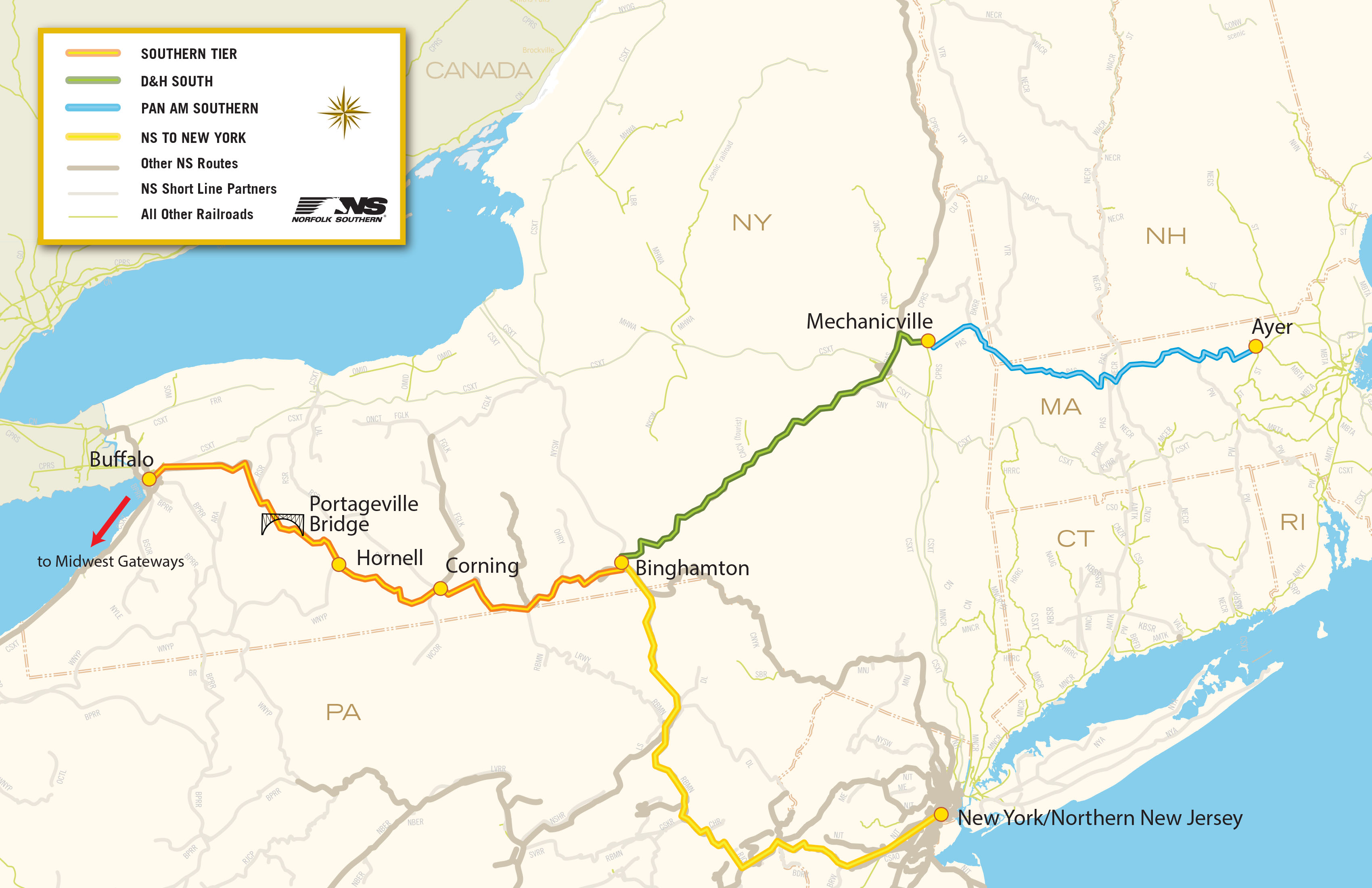 Norfolk Southern Begins Running Trains Over New Portageville - Map of southern tier of us