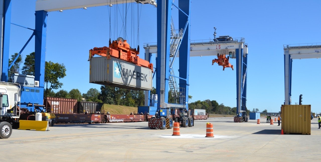 Rubber tire gantry crane at the South Carolina Inland Port lifting Maersk container